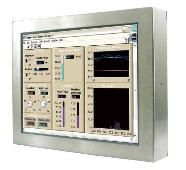 Front-right-WM 22W-V-ES-PRS / TL Produkt-Welten / Industriemonitor / Chassis Edelstahl (VESA-Mounting) / Touch-Screen für 1-Finger-Bedienung