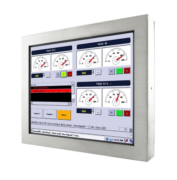 01-Industrie-Panel-PC-IP65-Edelstahl-R19ID3S-65A1 / TL Produkt-Welten / Panel-PC / Chassis Edelstahl (VESA-Mounting) / Touch-Screen für 1-Finger-Bedienung